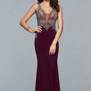 Faviana - Beaded Cutout Back Sheath Dress s10002